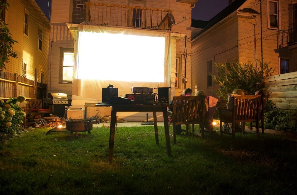 unforgettable movie night with outdoor projector