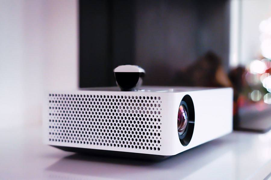 the projector and the speakers